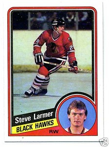 Steve Larmer Blackhawks 1984-85 Topps Rookie Card #30