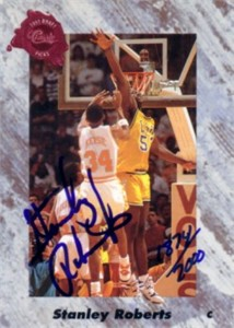 Stanley Roberts certified autograph LSU Tigers 1991 Classic card