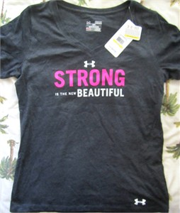 Strong is the New Beautiful Under Armour HeatGear women's T-shirt NEW WITH TAGS