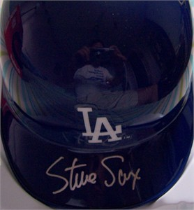 Steve Sax autographed Los Angeles Dodgers mini helmet
