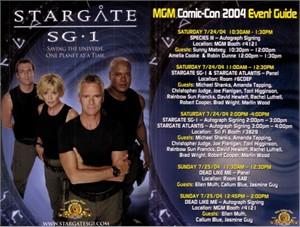 Stargate SG-1 2004 Comic-Con 4x6 promo card