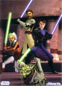 Star Wars Clone Wars Anakin Obi-Wan Yoda Ahsoka 2009 promo card
