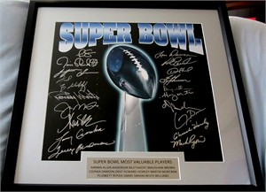 19 Super Bowl MVPs autographed lithograph framed Troy Aikman Terry Bradshaw Joe Montana Jim Plunkett Phil Simms Lynn Swann