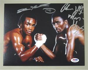 Sugar Ray Leonard & Thomas Hearns autographed 8x10 boxing photo (PSA/DNA)