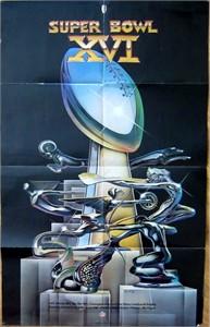 Super Bowl 16 original logo poster (San Francisco 49ers 26, Cincinnati Bengals 21)
