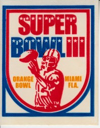 Super Bowl 3 logo sticker (Jets 16 Colts 7)