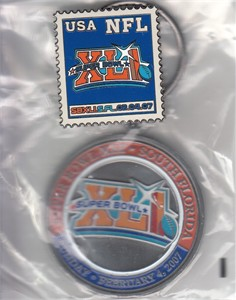 Super Bowl 41 logo keychain and pin set NEW