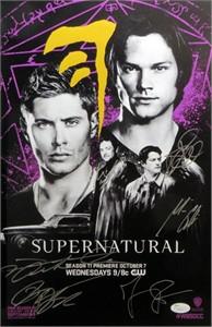 Supernatural cast autographed 2015 Comic-Con poster (Jensen Ackles Misha Collins Jared Padalecki)