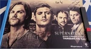 Supernatural cast autographed 2016 Comic-Con poster (Jensen Ackles Misha Collins Jared Padalecki)