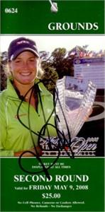 Suzann Pettersen autographed LPGA 2008 Michelob Ultra Open ticket