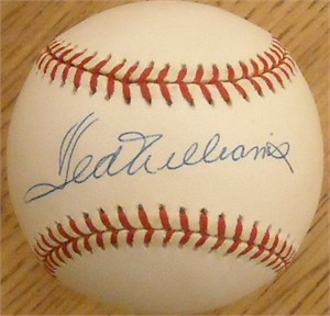 Ted Williams autographed American League baseball