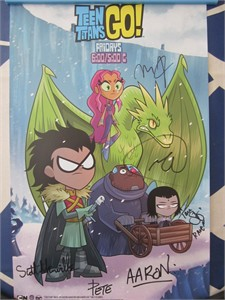 Teen Titans Go! cast autographed 2017 Comic-Con poster (Greg Cipes Scott Menville Tara Strong)