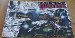 Teenage Mutant Ninja Turtles cast autographed 2014 Comic-Con poster (Greg Cipes Rob Paulsen)