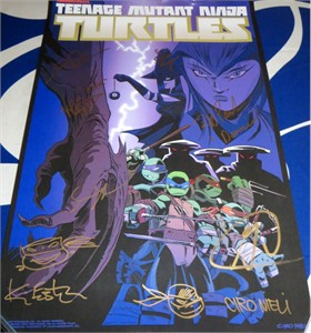 Teenage Mutant Ninja Turtles cast autographed 2016 Comic-Con poster Sean Astin Greg Cipes Rob Paulsen
