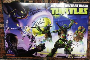 Teenage Mutant Ninja Turtles cast autographed 2013 Comic-Con poster (Sean Astin Greg Cipes Rob Paulsen Kevin Michael Richardson Mae Whitman)