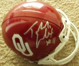 Teddy Lehman autographed Oklahoma Sooners mini helmet