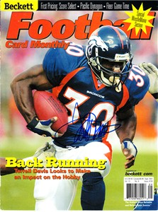 Terrell Davis autographed Denver Broncos 2001 Beckett Football magazine cover