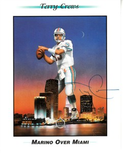 Terry Crews autographed Dan Marino artwork 4x5 inch 1996 Sierra Sun promo card