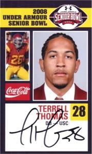 Terrell Thomas autographed USC Trojans 2008 Senior Bowl card