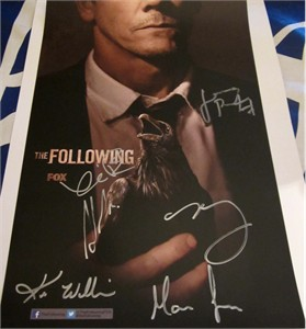 The Following cast autographed 2013 Comic-Con poster (Kevin Bacon Shawn Ashmore Valorie Curry James Purefoy)