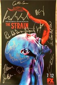 The Strain cast autographed 2015 Comic-Con poster (David Bradley Guillermo Del Toro Kevin Durand Mia Maestro Corey Stoll)