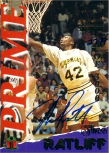 Theo Ratliff certified autograph Wyoming Cowboys 1995 Signature Rookies card