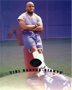Tiki Barber New York Giants 1997 Leaf 8x10 photo card