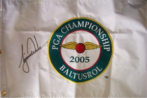 Tiger Woods autographed 2005 PGA Championship embroidered canvas flag