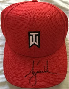 Tiger Woods autographed red TW logo Nike golf cap or hat