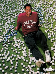 Tiger Woods autographed 1995 Stanford Golf Sports Illustrated full page page magazine photo JSA LOA