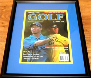 Tiger Woods & David Duval autographed Beckett Golf Collector magazine cover matted & framed