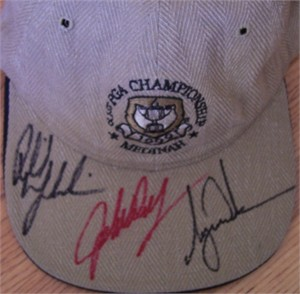 Tiger Woods Phil Mickelson John Daly autographed 1999 PGA Championship cap or hat
