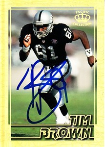 Tim Brown autographed Oakland Raiders 1995 Pacific Gems of the Crown card