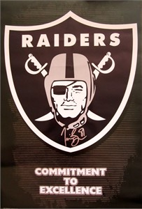 Tim Brown autographed Oakland Raiders logo poster