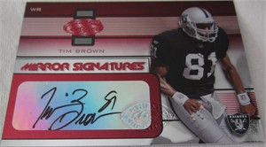 Tim Brown certified autograph Oakland Raiders 2002 Leaf Mirror Red Signatures card #29/50