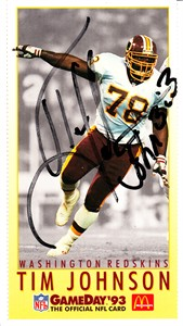 Tim Johnson autographed Washington Redskins 1993 McDonald's GameDay card