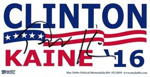 Tim Kaine autographed Clinton Kaine 2016 bumper sticker