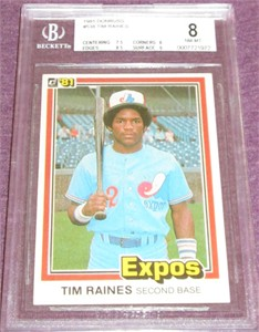 Tim Raines Montreal Expos 1981 Donruss Rookie Card #538 BGS graded 8