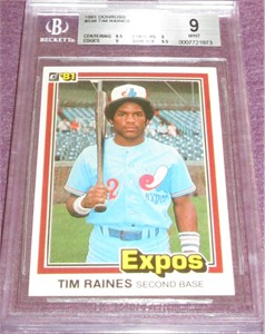 Tim Raines Montreal Expos 1981 Donruss Rookie Card #538 BGS graded 9 MINT