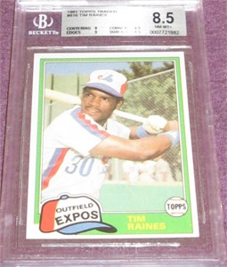 Tim Raines Montreal Expos 1981 Topps Traded Rookie Card #816 BGS graded 8.5