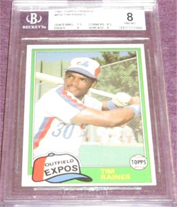Tim Raines Montreal Expos 1981 Topps Traded Rookie Card #816 BGS graded 8
