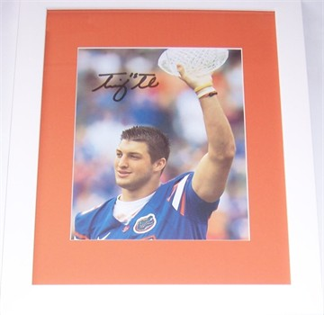 Tim Tebow autographed Florida Gators BCS Trophy 8x10 photo matted & framed