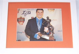 Tim Tebow autographed 2007 Davey O'Brien Trophy 8x10 photo matted & framed