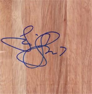 Tina Thompson autographed basketball hardwood floor