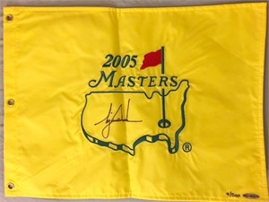 Tiger Woods autographed 2005 Masters golf pin flag UDA #/500