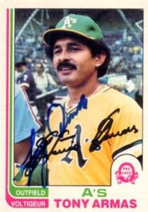 Tony Armas autographed Oakland A's 1982 OPC card