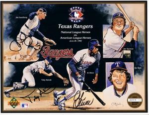 Toby Harrah Al Oliver Jim Sundberg autographed Texas Rangers 1992 Upper Deck card sheet