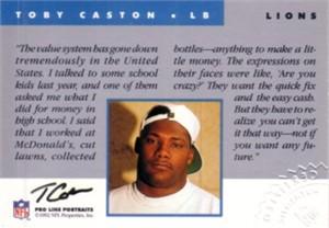 Toby Caston certified autograph Detroit Lions 1992 Pro Line card