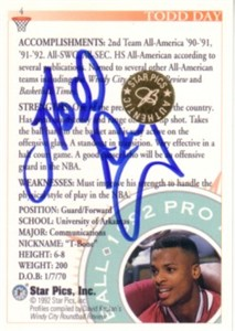 Todd Day certified autograph Arkansas Razorbacks 1992 Star Pics card