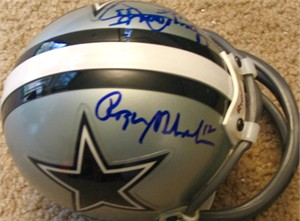 Tony Dorsett & Roger Staubach autographed Dallas Cowboys mini helmet